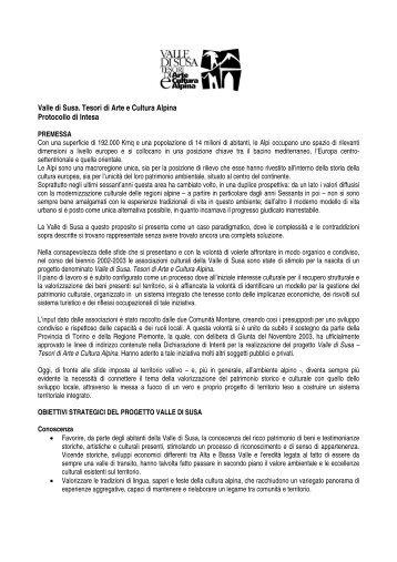 Protocollo d'Intesa - Valle di Susa. Tesori di Arte e Cultura Alpina