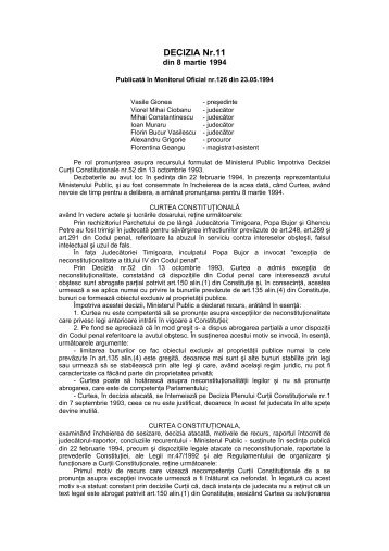 406. Decizia nr. 11 din data de 08.03.1994 - Curtea Constituţională ...