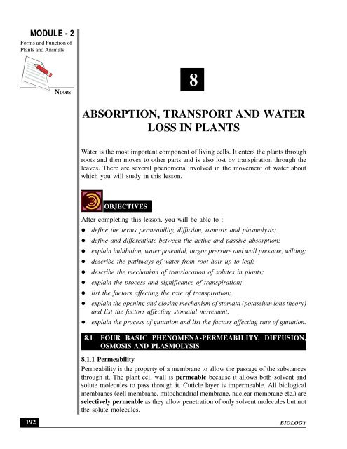 ABSORPTION, TRANSPORT AND WATER LOSS IN PLANTS