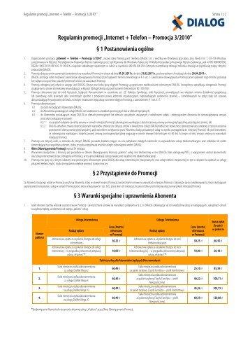 "Regulamin promocji ""Internet + Telefon – Promocja 3/2010"" - Dialog"