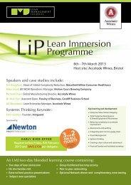 Lean Immersion Programme - The Manufacturer.com