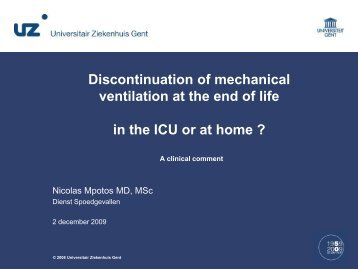 Discontinuation of mechanical ventilation at the end of life in the ICU ...