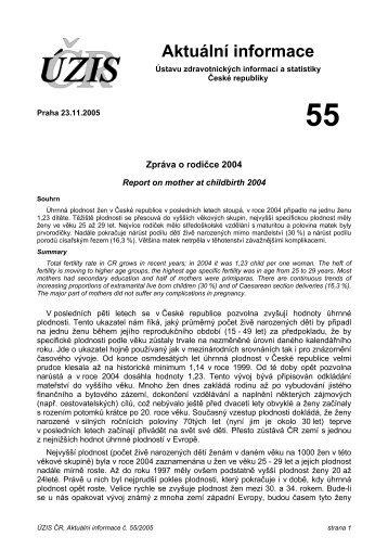 Aktuální informace č. 55/2005 - ÚZIS ČR
