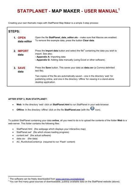 STATPLANET - MAP MAKER - USER MANUAL - SACMEQ
