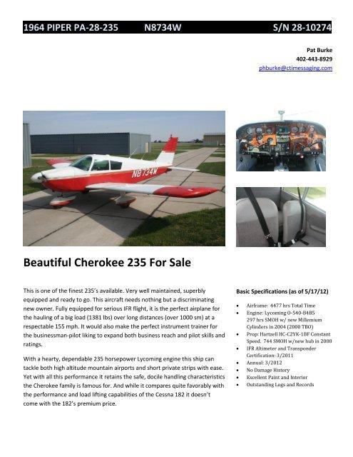 Beautiful Cherokee 235 For Sale - Barnstormers