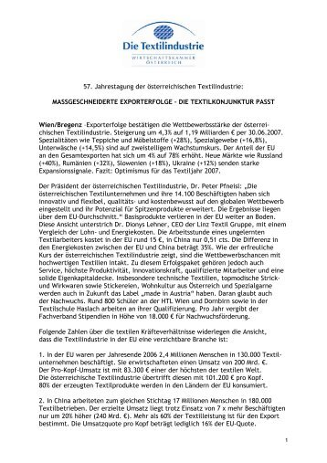 57. Jahrestagung der österreichischen ... - Die Textilindustrie