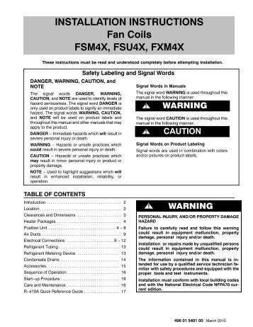 FSM4X, FSU4X, FXM4X Fan Coil Installation Instructions