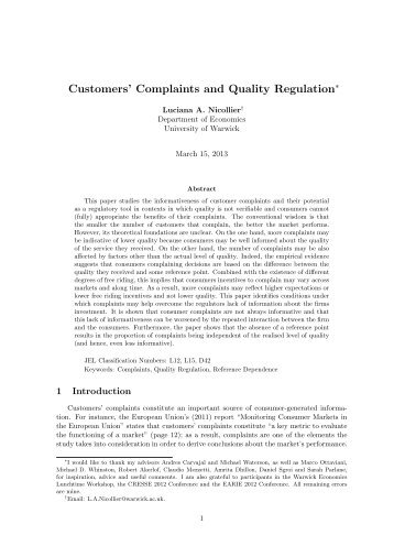 Customers' Complaints and Quality Regulation - Ecares