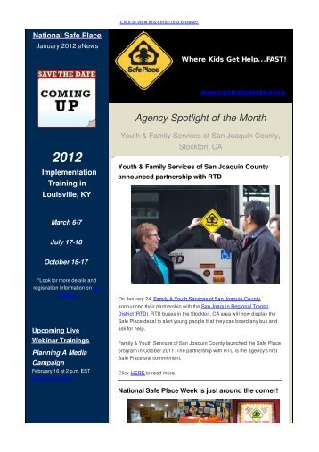 NSP January 2012 eNews - Great Year Ahead! - National Safe Place