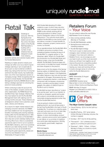 23rd August 2010 - Rundle Mall Newsletter