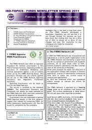 FIRMS NEWSLETTER SPRING 2011 - Forensic Isotope Ratio Mass ...