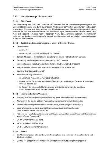 3.15 Notfallvorsorge / Brandschutz - Ums Uni Bremen - Universität ...