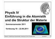Physik IV Einführung in die Atomistik und die Struktur der Materie