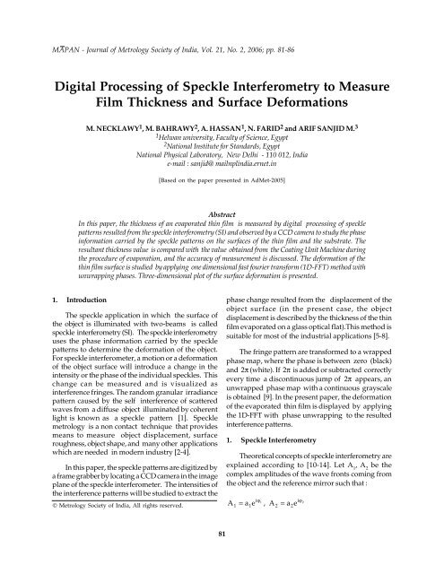 Digital Processing Of Speckle Interferometry To Measure Film