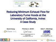 Reducing Minimum Exhaust Flow for Laboratory Fume Hoods at the ...