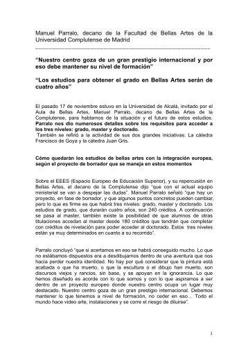 Manuel Parralo, decano de la Facultad de Bellas Artes de la ...