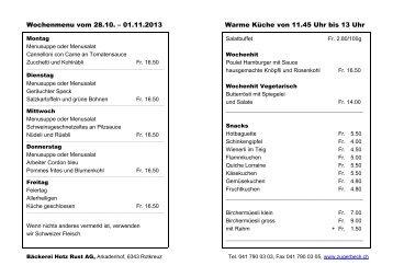 Wochenmenu vom 22.04. – 26.04.2013 Warme Küche von 11.45 ...