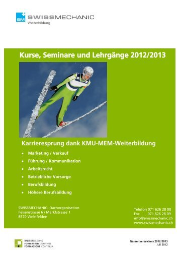 Kurse, Seminare und Lehrgänge 2012/2013 - Swissmechanic
