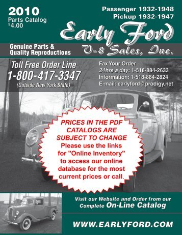 Genuine Parts & Quality Reproductions - Early Ford V8 Sales