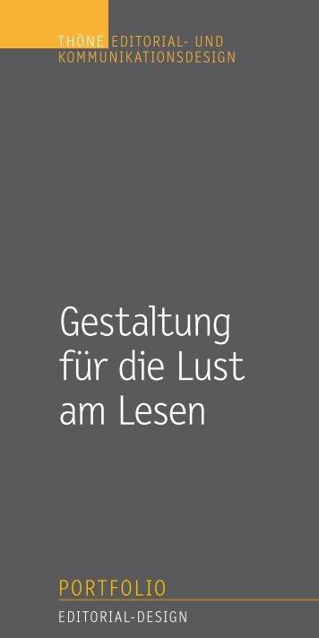 Thöne Editorial- und Kommunikationsdesign PORTFOLIO 01_2015