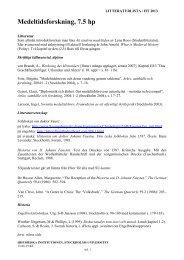 Litteraturlista ht2013 - Historiska institutionen - Stockholms universitet