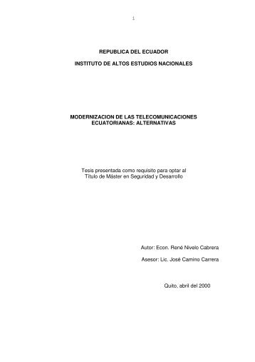 NIVELO RENE 2000.pdf - Repositorio Digital IAEN - Instituto de ...