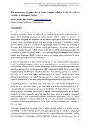 The governance of active-focus labour market policies in the UK and ...