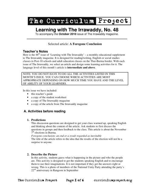 Teachers notes (0 5mb) - The Curriculum Project