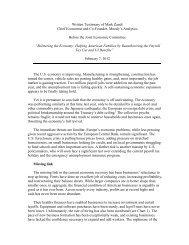 Written Testimony of Mark Zandi Chief Economist ... - Economy.com