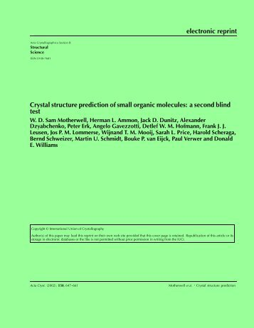 electronic reprint Crystal structure prediction of small organic ...