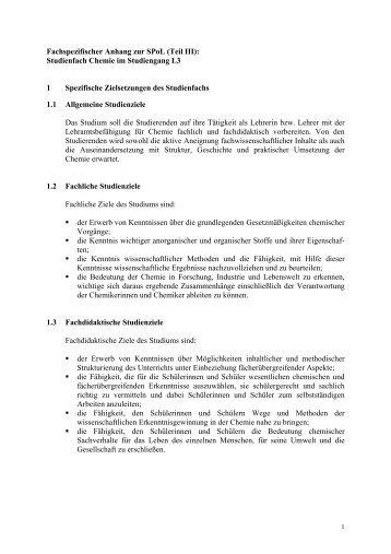 Fachspezifischer Anhang zur SPoL - Chemie L3 - Institut für ...