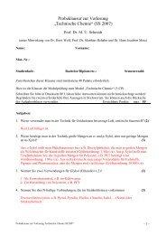 """Probeklausur zur Vorlesung """"Technische Chemie"""" (SS 2007)"""