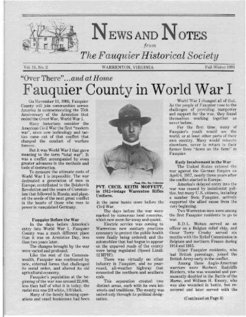 Fauquier County in World War I - Fauquier Historical Society