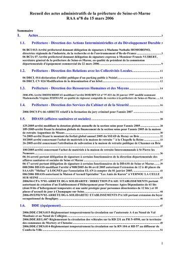 Recueil des actes administratifs de la préfecture de Seine et Marne ...