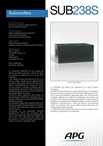 Télécharger la fiche produit SUB238S - APG
