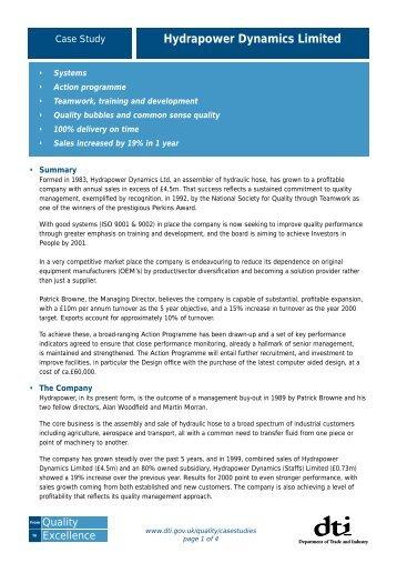Hydrapower Dynamics Ltd case study - Businessballs