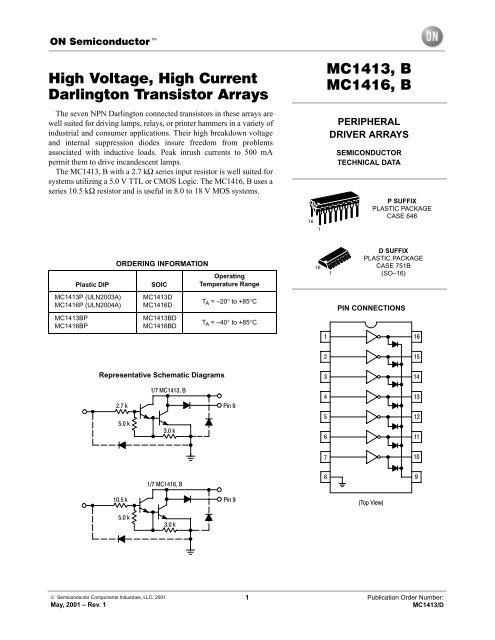 High Voltage, High Current Darlington Transistor Arrays MC1413, B