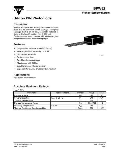 BPW82 Silicon PIN Photodiode