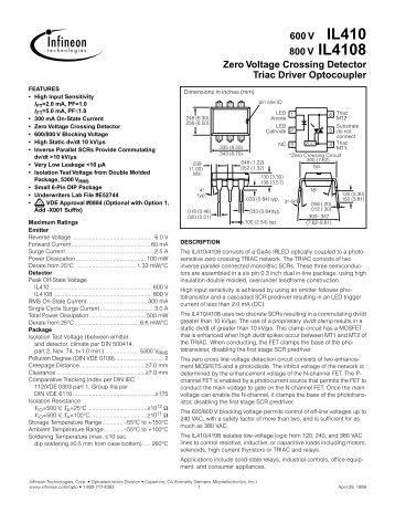 6-Pin DIP Zero-Cross Optoisolators Triac Driver Output