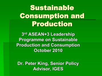 Sustainable consumption as a major driver of sustainable ...