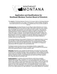 Southeast Montana Tourism Board Application and Qualifications