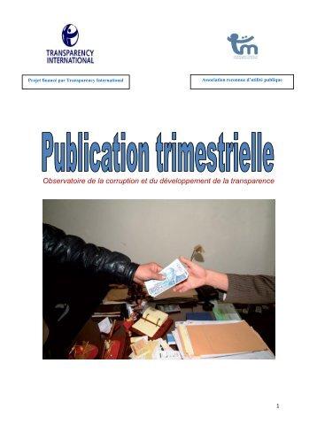 La publication trimestrielle de Transparency Maroc Edition avril 2013