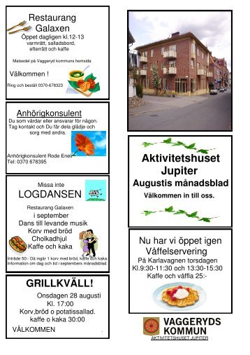 Länk till augusti månads aktiviteter - Vaggeryds kommun