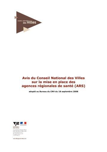 Avis du Conseil National des Villes sur la mise en place des ...