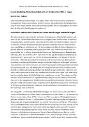 Bericht des Dekans bei der Bezirkssynode Sulz am Neckar