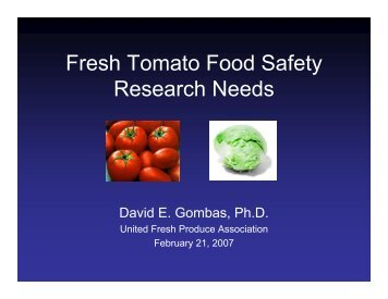 Fresh Tomato Food Safety Research Needs - jifsan