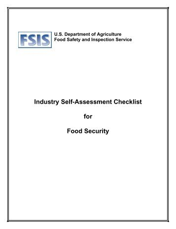 Industry Self-Assessment Checklist for Food Security