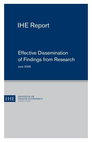 IHE Report - Institute of Health Economics