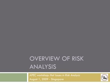 Overview of risk analysis - jifsan - University of Maryland