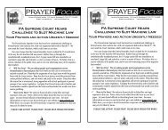 PRAYER Focus PRAYER Focus - Pennsylvania Family Institute